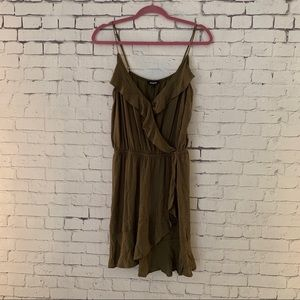 Olive green mini wrap dress